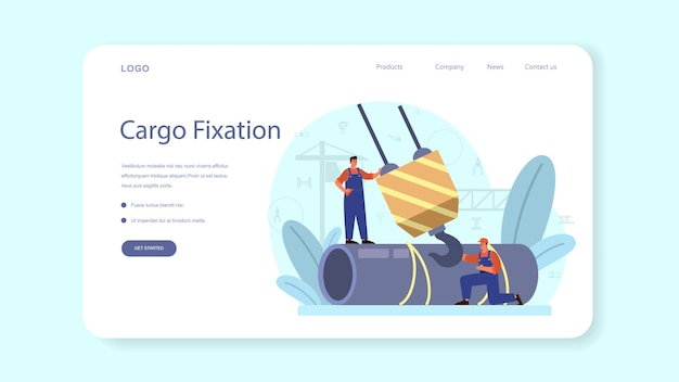 Slinger web banner or landing page. professional workers of constructing industry slinging goods.
