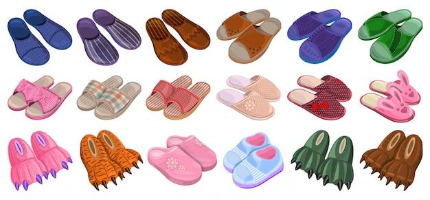 슬리퍼 만화 아이콘을 설정합니다. 그림 흰색 배경에 홈 신발입니다. 만화 아이콘 슬리퍼를 설정합니다.