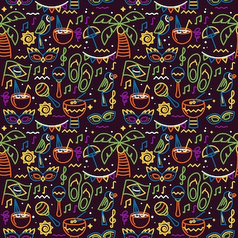 Slippers and palms seamless carnival pattern