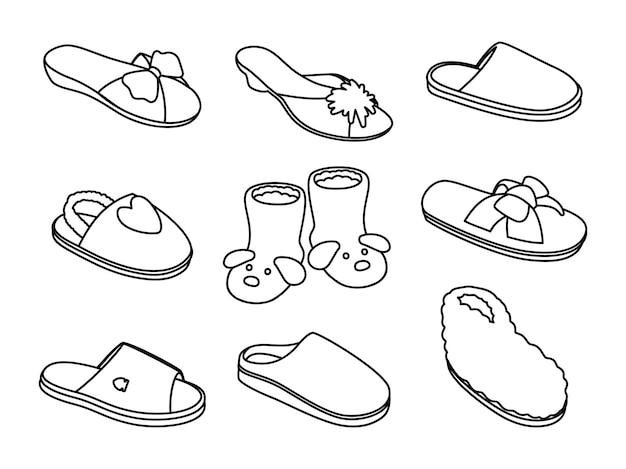 슬리퍼 스케치. 가정용 손으로 그린 패션 스니커즈, 세련된 샌들의 개요, 흰색 배경에 격리된 낙서 신발 이미지의 벡터 그림