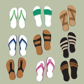 Slippers top view vector set