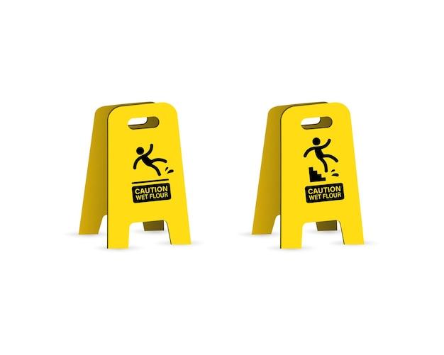 미끄러운 젖은 바닥 경고 표시. 떨어지는 위험.