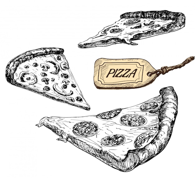 Slises of pizza are  in engraving style