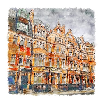 Sloane square london watercolor sketch hand drawn illustration