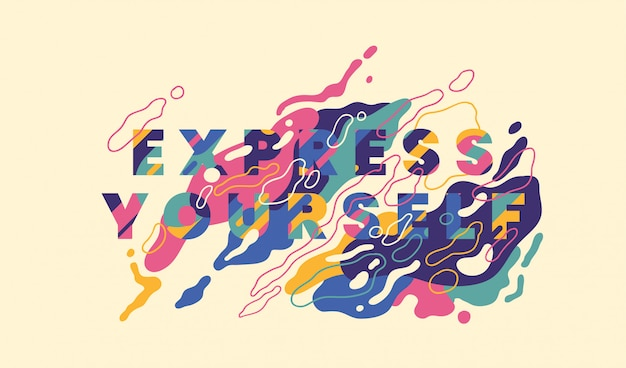 Slogan: express yourself, with colorful abstract shapes design