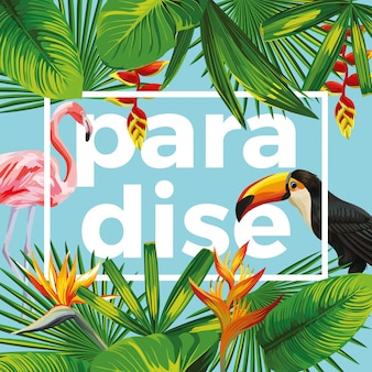Slogan paradise with  toucan and flamingo