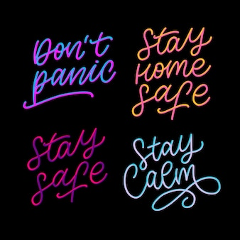 Slogan stay home safe quarantine pandemic letter text words calligraphy   illustration