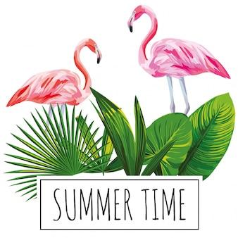 Slogan summer time tropical leaves flamingo