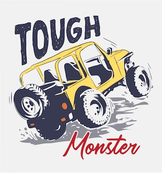Slogan with cartoon four wheels truck illustration