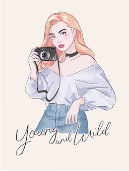 Slogan with cartoon girl and camera