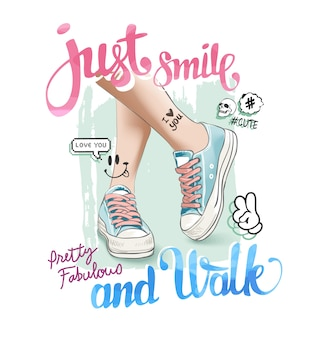 Slogan with leg on sneakers illustration