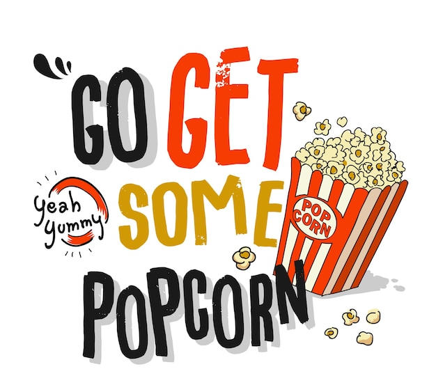 Slogan with popcorn illustration