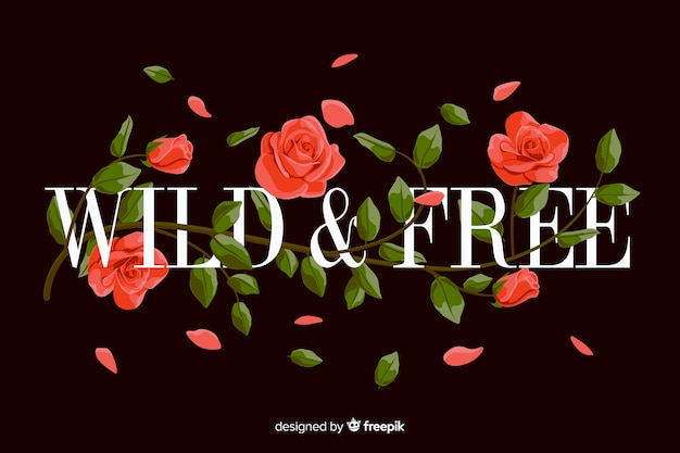 Slogan with realistic flowers background