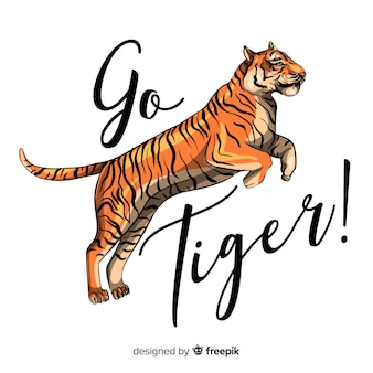 Slogan with realistic tiger background