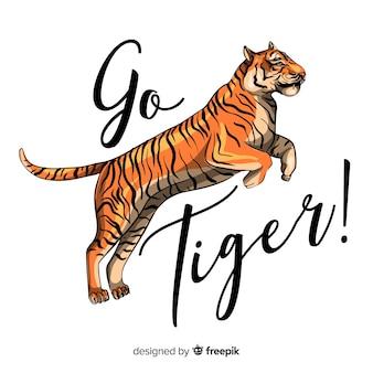 Slogan con sfondo di tigre realistico