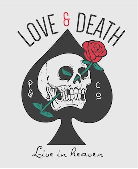 Slogan with skull and rose in eye socket illustration