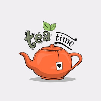 Slogan with teapot illustration