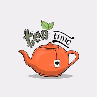 Slogan with teapot illustration