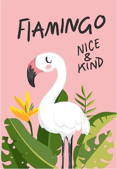 Slogan with white flamingo cartoon illustration