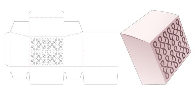 곡선 스텐실 다이 컷 템플릿이있는 경사 상자