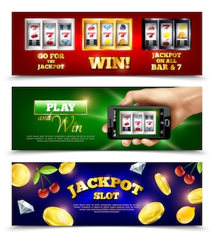 Slot machine banners set