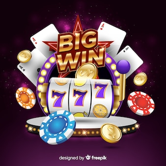 Slot machine big win concept in realistic style