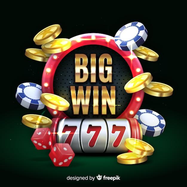 Slot machine big win concept in realistic style