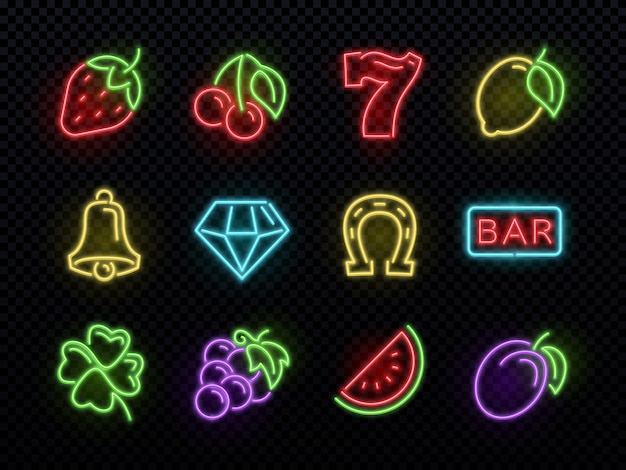 Slot machine bright neon  symbols. casino light gambling icons.  of icons casino game neon, fortune and gambling