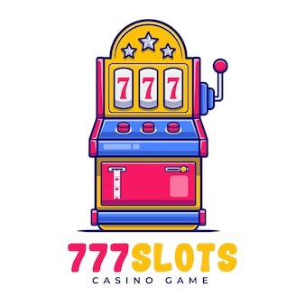 Slot machine carnival cartoon logo template