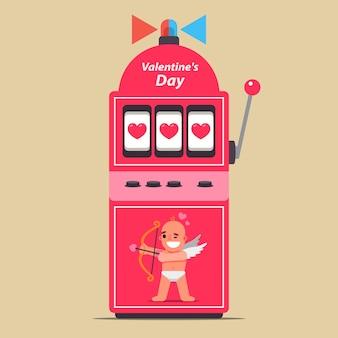 Игровой автомат на день святого валентина. завоевать любовь. ударил большой джекпот в отношениях. плоская иллюстрация.