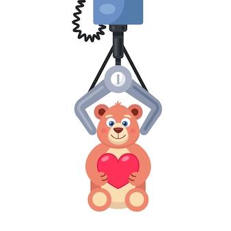 Slot machine. hook hooked on a soft toy.  illustration.