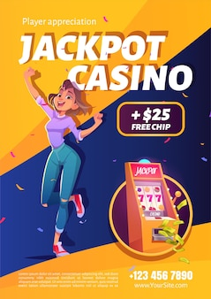 Slot machine jackpot casino win ad poster