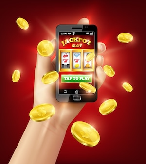 Slot machine mobile app 3d illustration