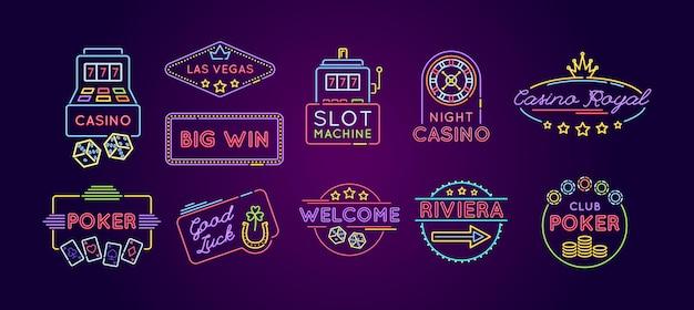 Неоновый значок игрового автомата установлен. казино, покер, ривьера, добро пожаловать, удачи, яркая эмблема и логотип