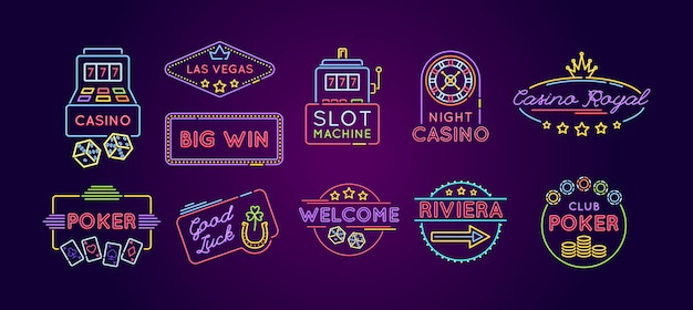 Slot machine neon icon set. casino, poker, riviera, welcome, good luck bright emblem and logo