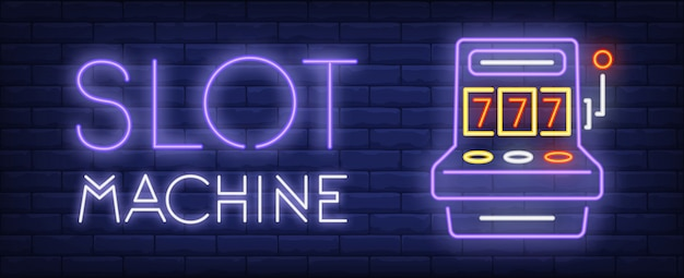Slot machine neon sign. triple sevens and glowing inscription on brick wall background