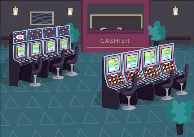 Игровой автомат строки плоской иллюстрации