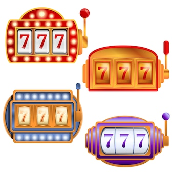 Slot machine set, cartoon style