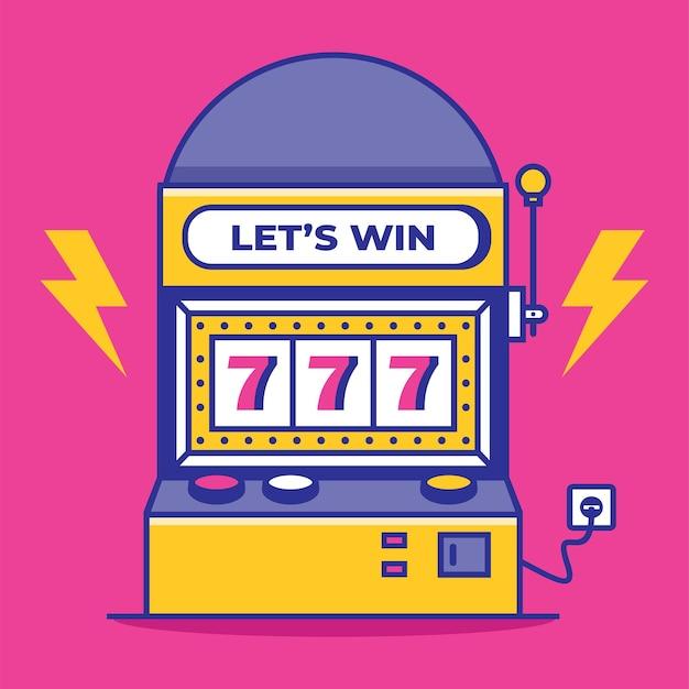 Slot machine with lucky sevens jackpot vector illustration win jackpot money