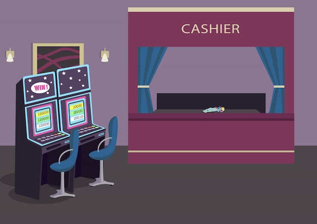 Slot machines row flat color illustration. gambling establishment. luxury hotel entertainment. game of chance to win money. casino room 2d cartoon interior with cashier counter on background
