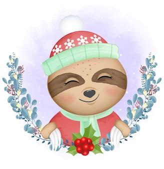 ナマケモノと花輪のクリスマス水彩イラスト