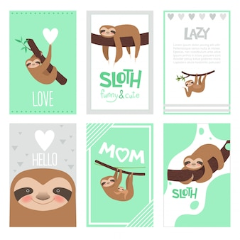 Sloth cards design. pajama textile print with cute little sleepy animal on branch vector pictures collection
