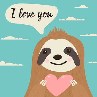 Sloth character in love with heart in hands