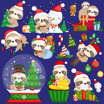 Sloth christmas vector set