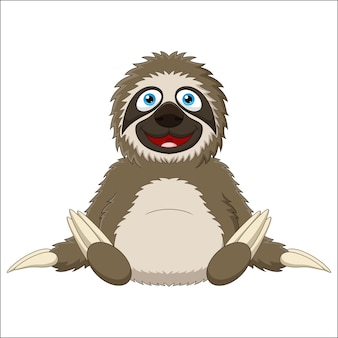 Sloth cute cartoon  on white background
