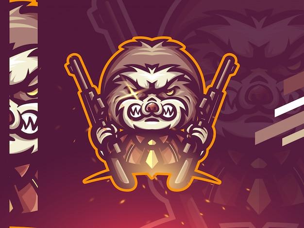 Дизайн логотипа талисмана ленивца киберспорта