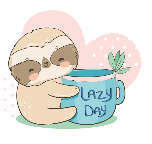 Sloth holding a cup with the inscription lazy day on the background of the heart  illustration