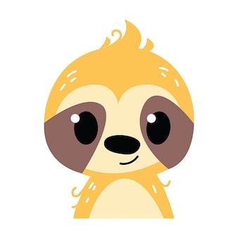Лень ребенок смайлик значок и характер векторные иллюстрации. детский стиль, изолированные на белом фоне. распечатать для детской. детские зоопарк животных картинки
