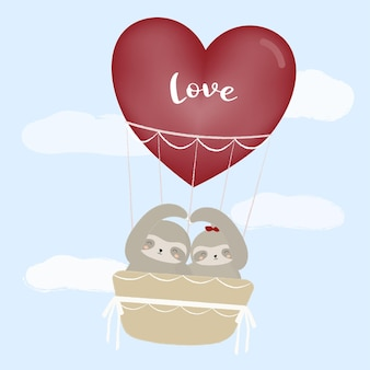 Bradipo in un palloncino dell'amore con colore chiaro