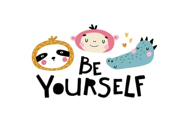 Ленивец, обезьяна и крокодил. будь собой. милое лицо животного с буквами. детская открытка для детской в скандинавском стиле. для вечеринки. иллюстрации шаржа в пастельных тонах.
